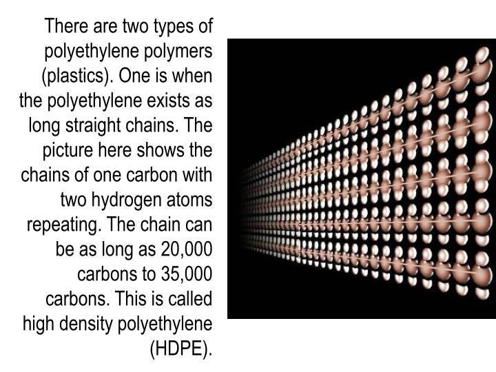 There are two types of polyethylene polymers (plastics). One is when the polyethylene exists as long straight chains. The picture here shows the chains of one carbon with two hydrogen atoms repeating. The chain can be as long as 20,000 carbons to 35,000 carbons. This is called high density polyethylene (HDPE).