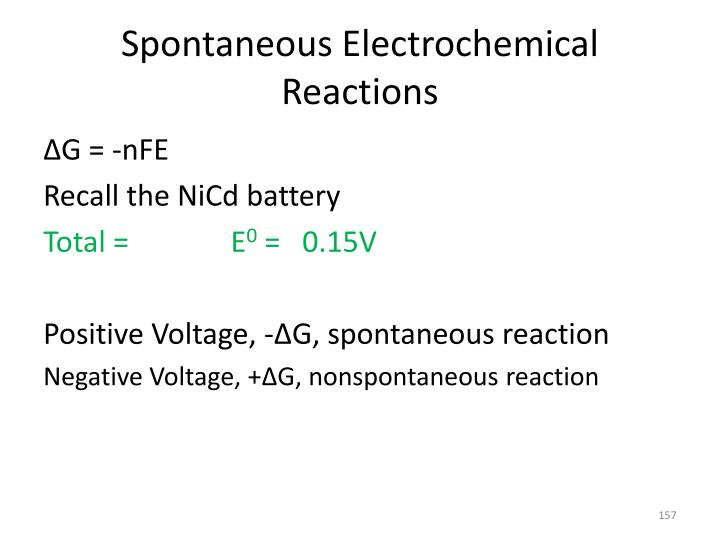Spontaneous Electrochemical Reactions