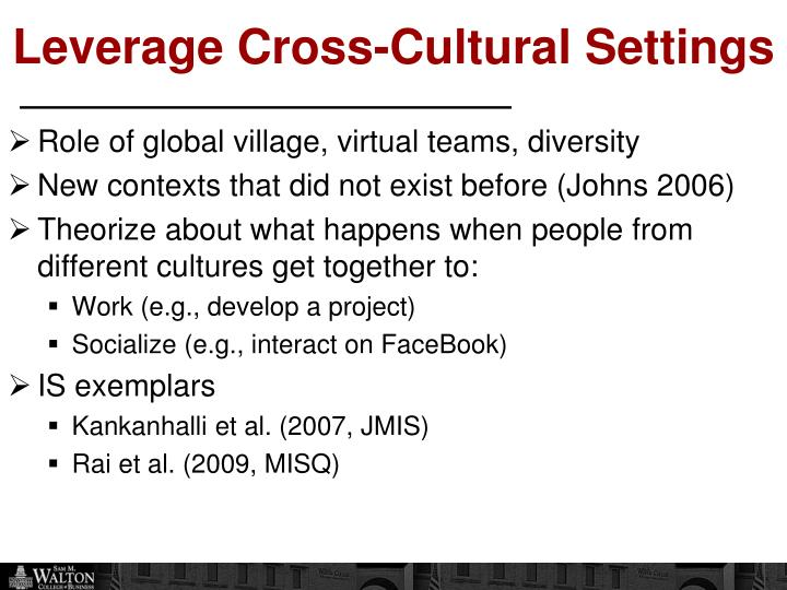 Leverage Cross-Cultural Settings