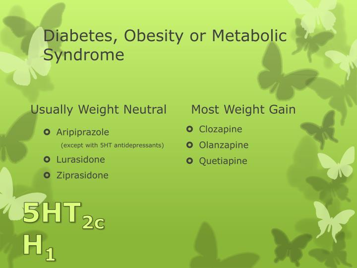 Diabetes, Obesity or Metabolic Syndrome