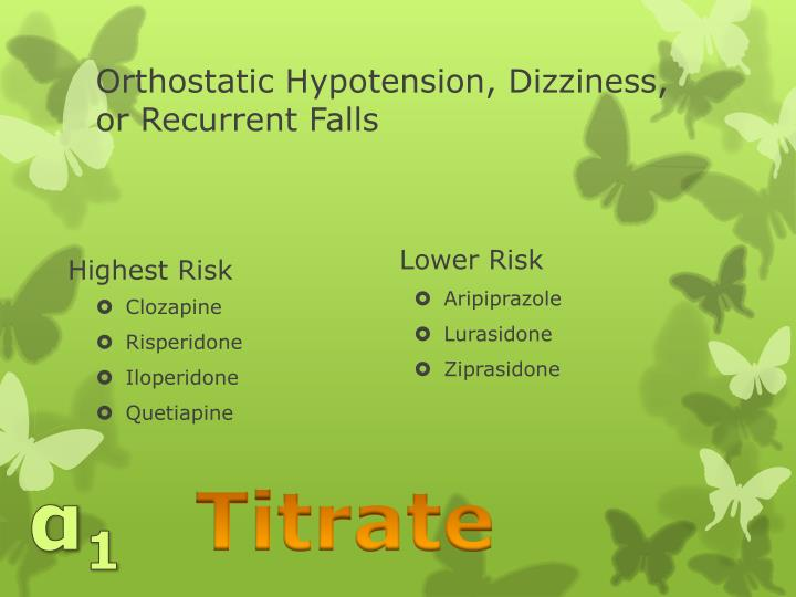 Orthostatic Hypotension, Dizziness, or Recurrent Falls