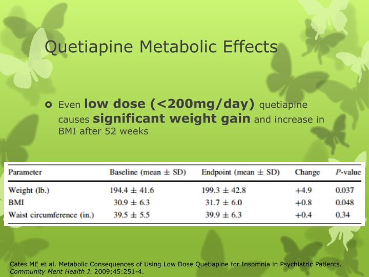 Quetiapine Metabolic Effects