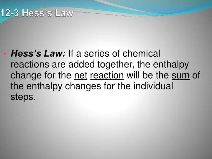 12-3 Hess's Law