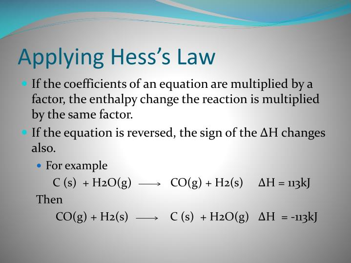 Applying Hess's Law