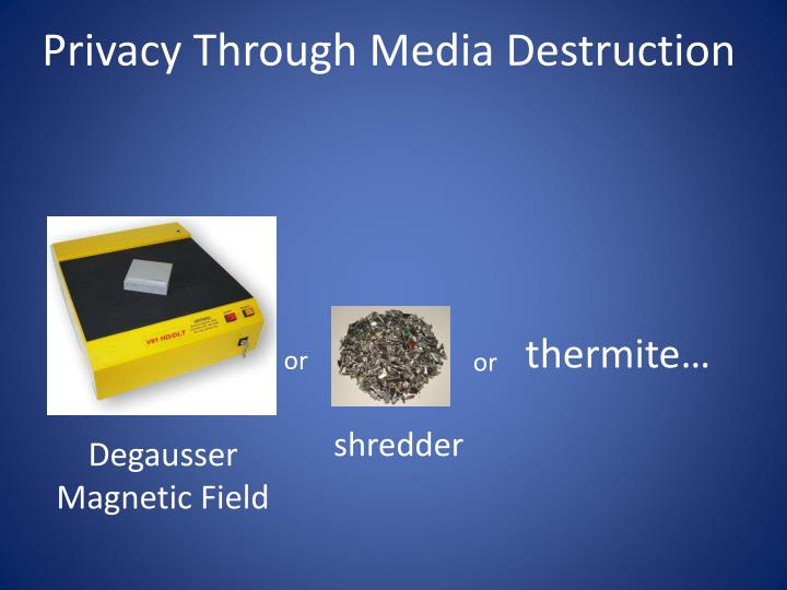 Privacy Through Media Destruction