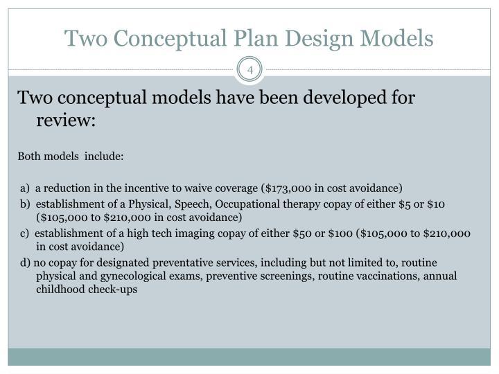 Two Conceptual Plan Design Models