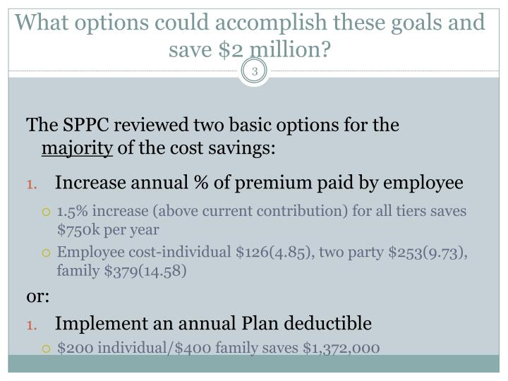 What options could accomplish these goals and save 2 million
