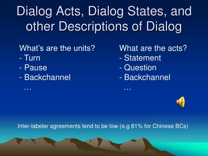 Dialog Acts, Dialog States, and other Descriptions of Dialog