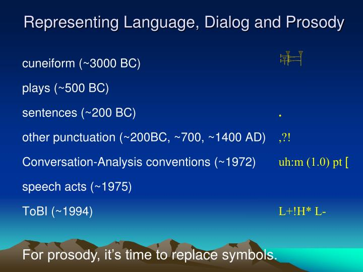Representing Language, Dialog and Prosody