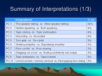 summary of interpretations 1 3