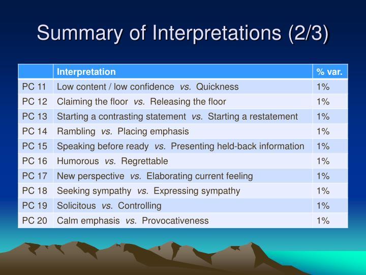 Summary of Interpretations (2/3)