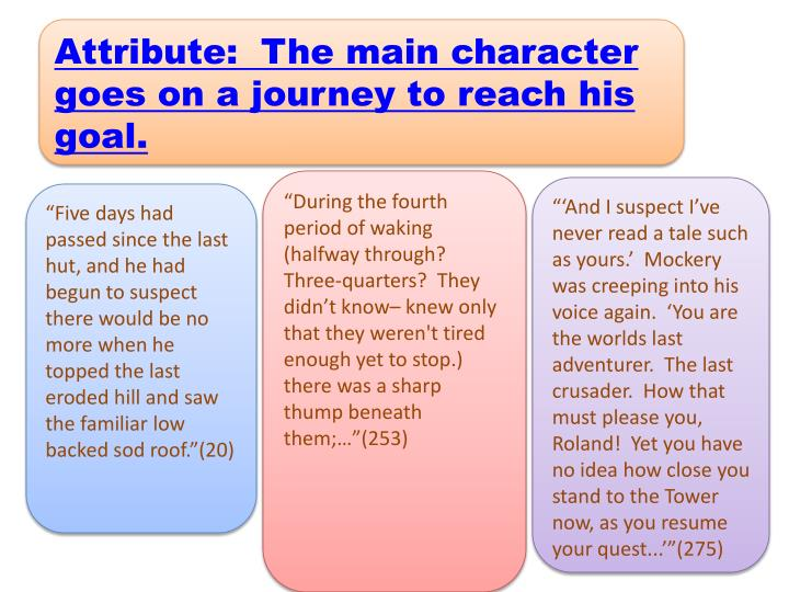 Attribute:  The main character goes on a journey to reach his goal.
