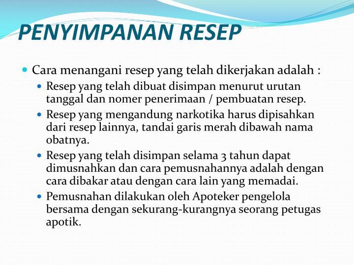 PENYIMPANAN RESEP