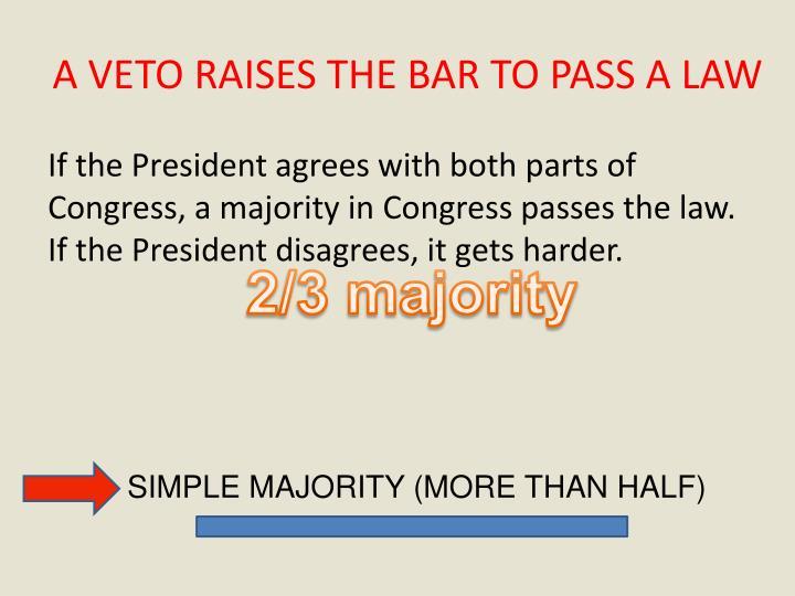 A VETO RAISES THE BAR TO PASS A LAW