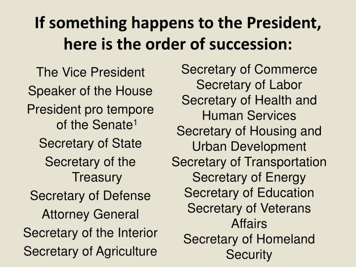 If something happens to the President, here is the order of succession: