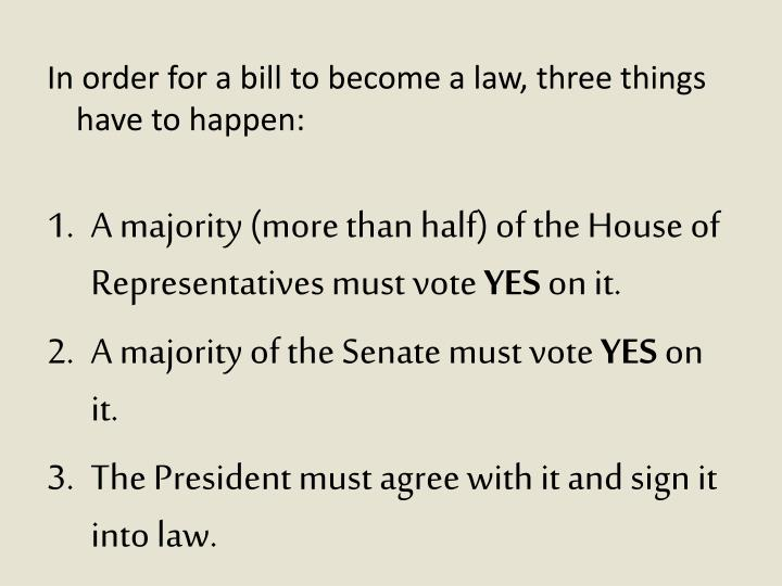 In order for a bill to become a law, three things have to happen: