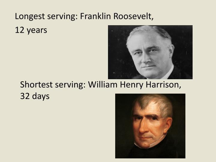 Longest serving: Franklin Roosevelt,
