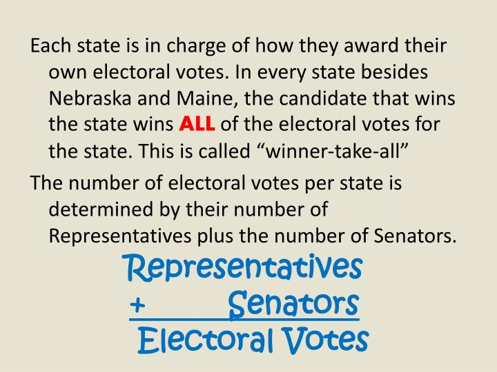 Each state is in charge of how they award their own electoral votes. In every state besides Nebraska and Maine, the candidate that wins the state wins