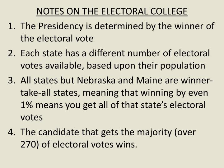 NOTES ON THE ELECTORAL COLLEGE