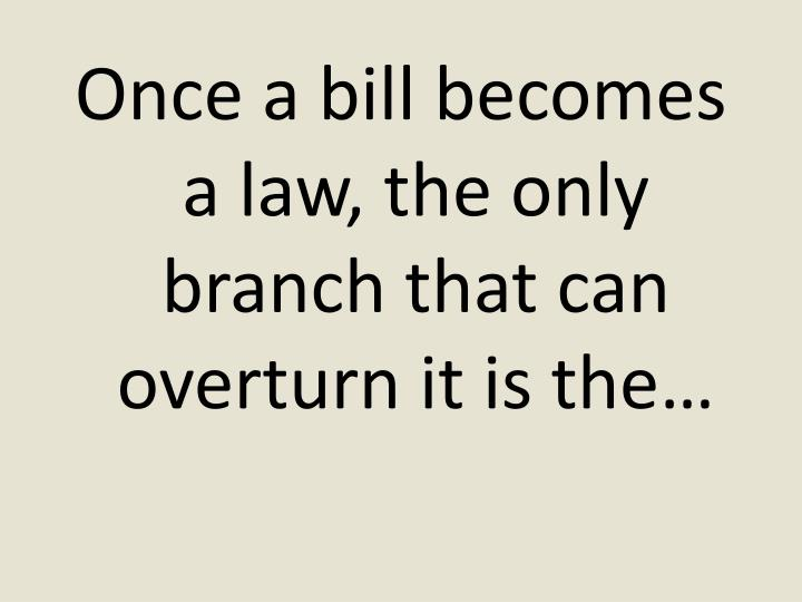 Once a bill becomes a law, the only branch that can overturn it is the…
