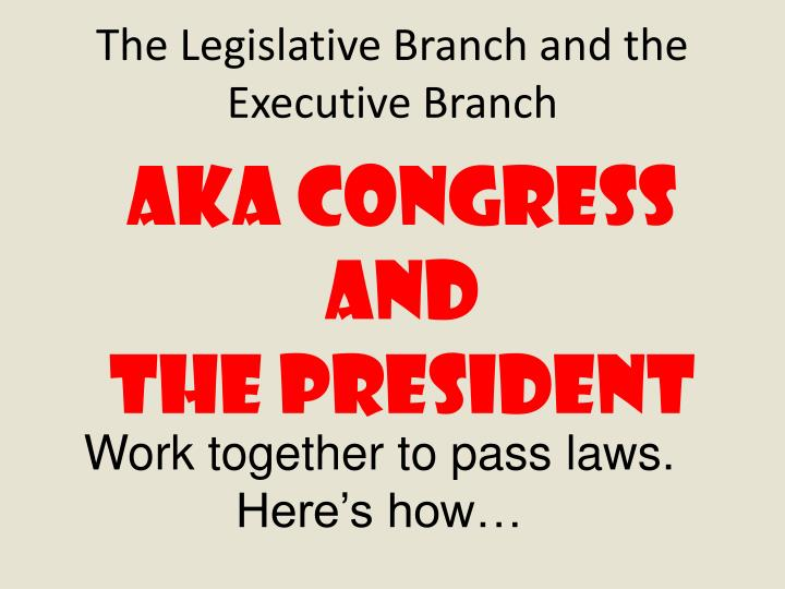 The Legislative Branch and the Executive Branch
