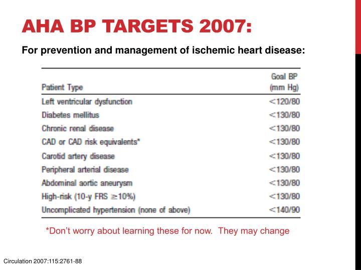 AHA BP targets 2007: