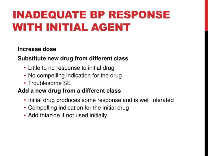 Inadequate BP Response with Initial Agent
