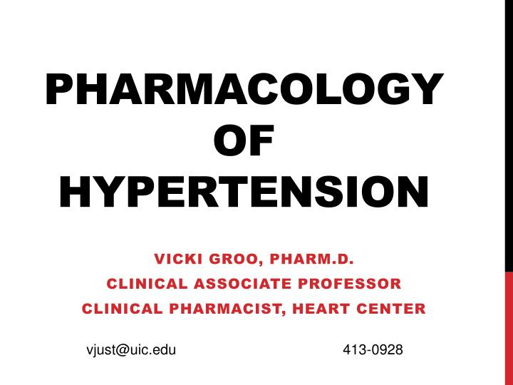Pharmacology of hypertension