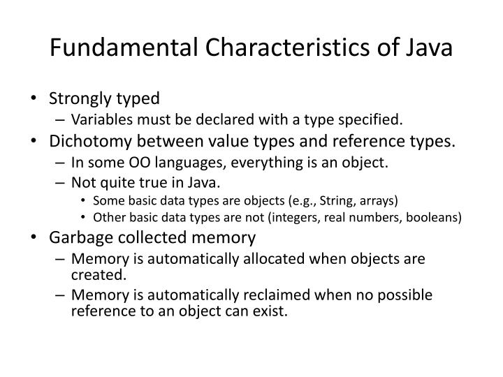 Fundamental Characteristics of Java