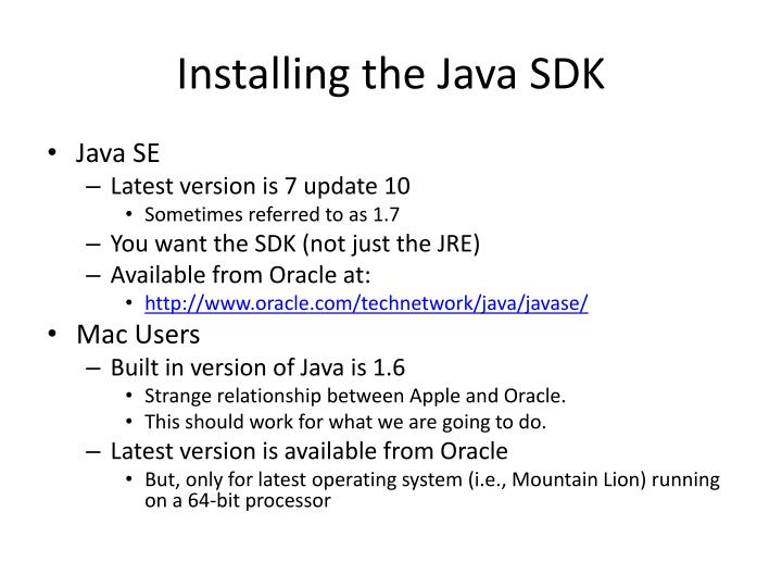 Installing the Java SDK