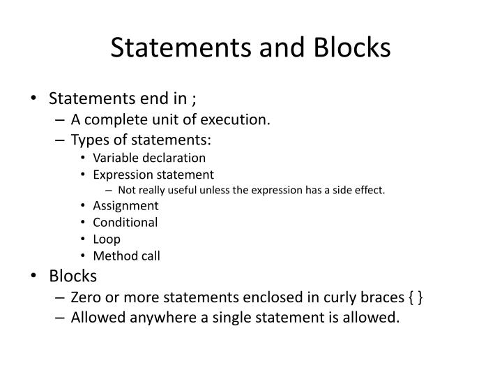 Statements and Blocks