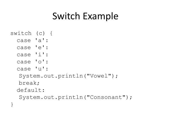 Switch Example