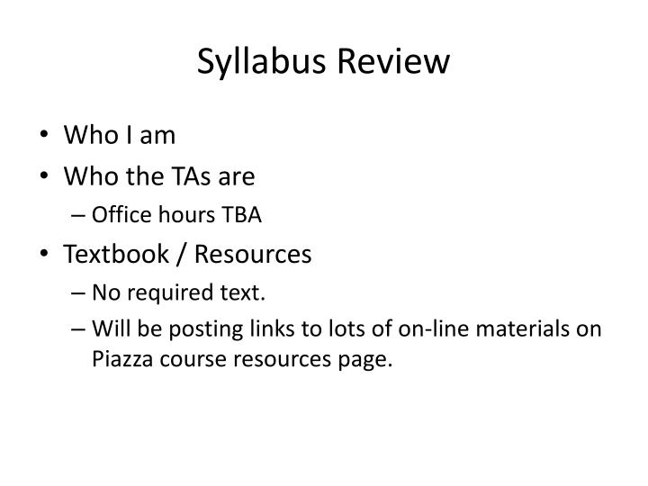 Syllabus Review