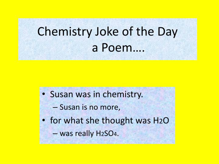 Chemistry joke of the day a poem