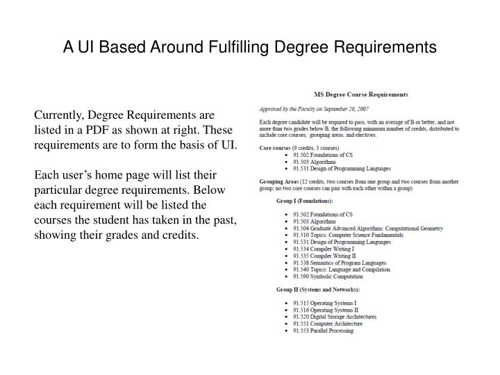 A UI Based Around Fulfilling Degree Requirements