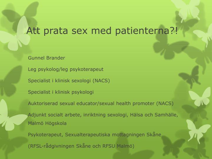 Att prata sex med patienterna?!