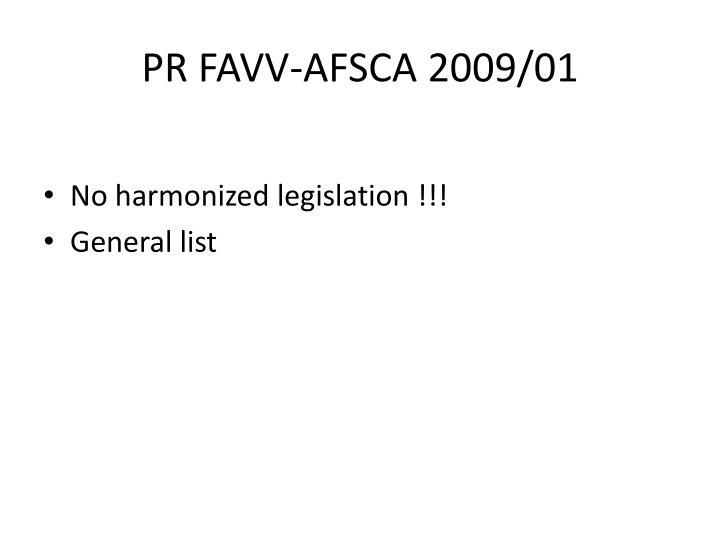 PR FAVV-AFSCA 2009/01