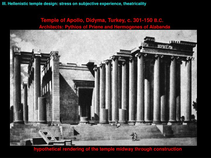 III. Hellenistic temple design: stress on subjective experience, theatricality