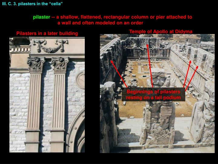 """III. C. 3. pilasters in the """"cella"""""""