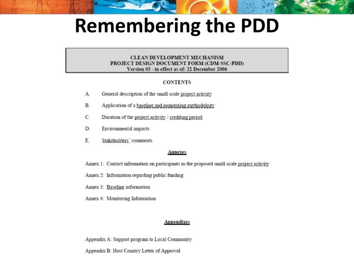 Remembering the PDD