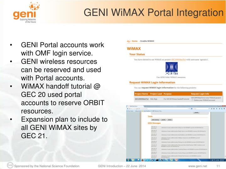 GENI WiMAX Portal Integration