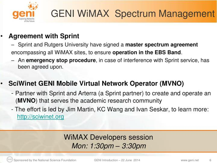 GENI WiMAX  Spectrum Management