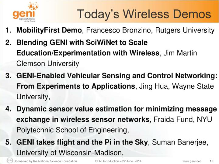 Today's Wireless Demos