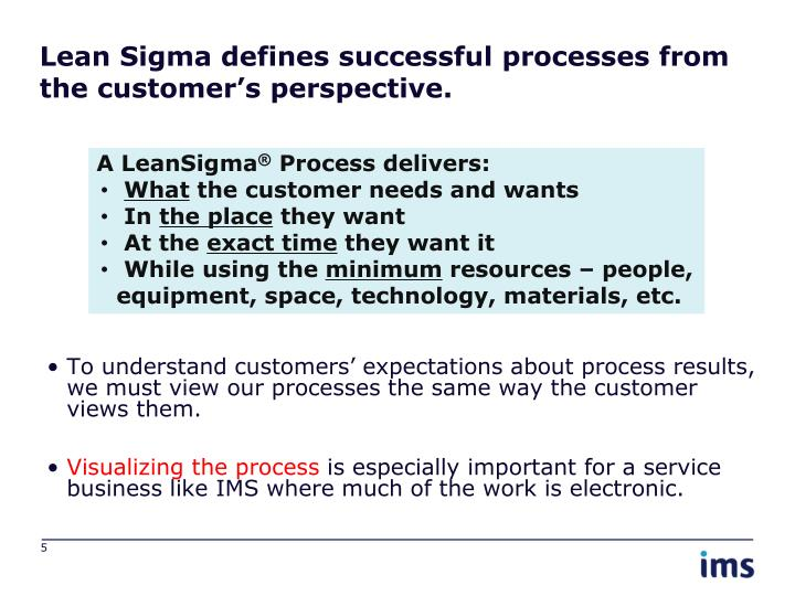 Lean Sigma defines successful processes from the customer's perspective.