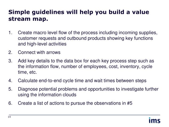 Simple guidelines will help you build a value stream map.