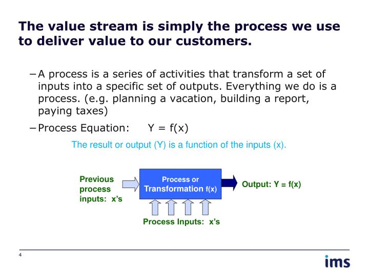 The value stream is simply the process we use to deliver value to our customers.