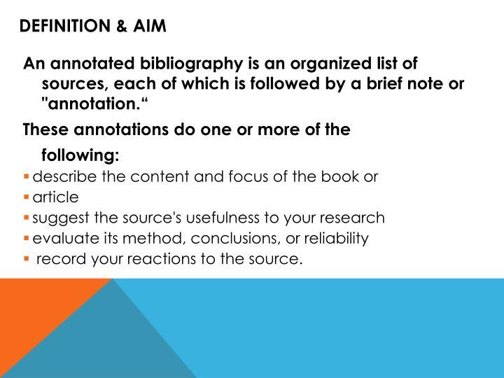 Definition & Aim