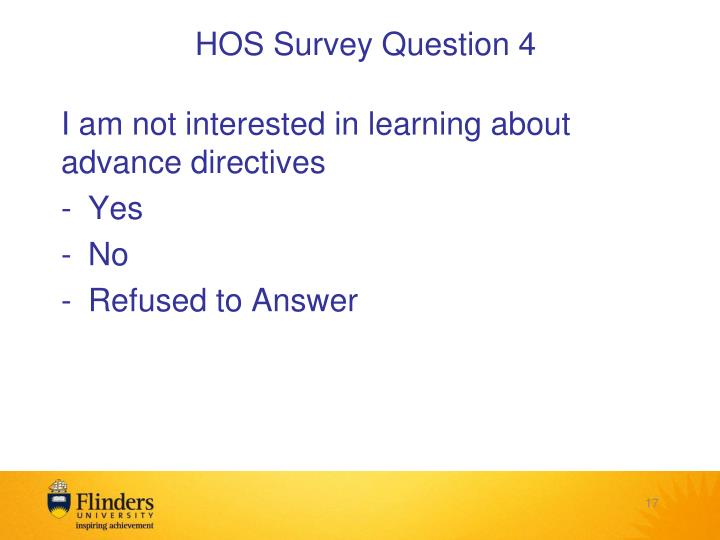 HOS Survey Question 4