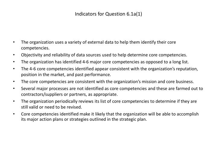 Indicators for question 6 1a 1