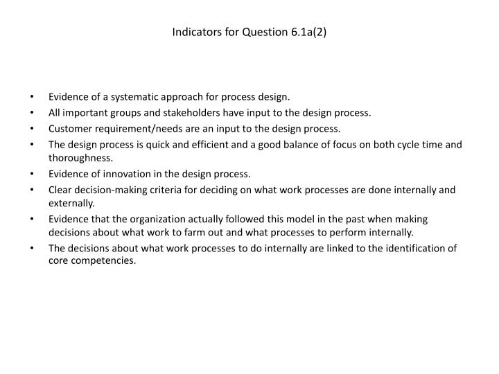 Indicators for Question 6.1a(2)